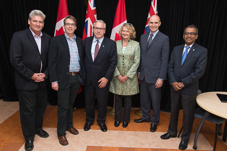 Ray with Ministers Ballard and Duclos, along with Ottawa area MPP John Fraser and MPs Karen McCrimmon and Chandra Arya